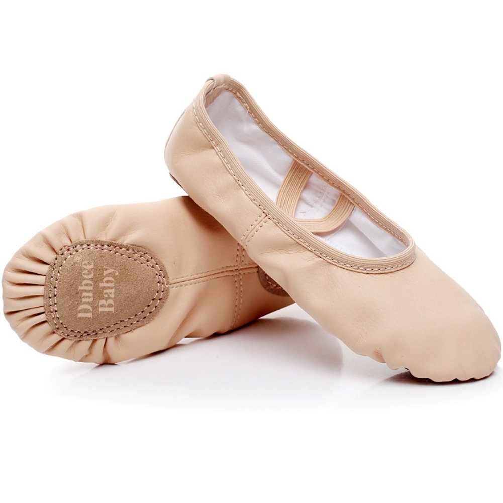 DubeeBaby Ballet Shoes Slippers Leather Split Sole Flats for Girls(Toddler/Little Kid) Classic Nude Foot Length  8.07 inch-Little Kid 2M
