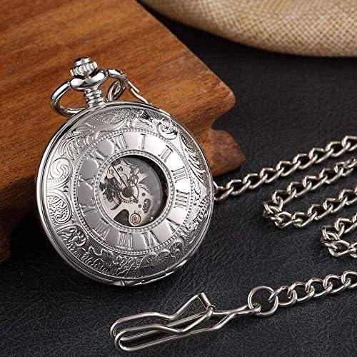 懐中時計、フォブチェーン付きゴールドアンティークメカニカルスケルトンダブルオープンサイドローマ数字ペンダント