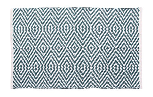 100% Cotton Rug- Reversible Machine Washable Area Rug Flatweave Handwoven Scatter Rug Diamond Rug, Floor Rug For Bedroom, Living Room, Kitchen, 2