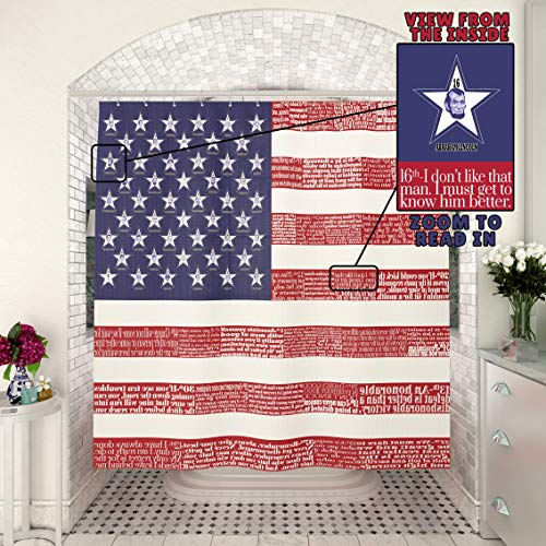 TubSail American Flag with US President Quotes Shower Curtain 2in1 - Read in - Educational Home Bathroom Decor 45 Motivational Inspirational Quotes Red Patriotic Showers Set Fabric with Hooks
