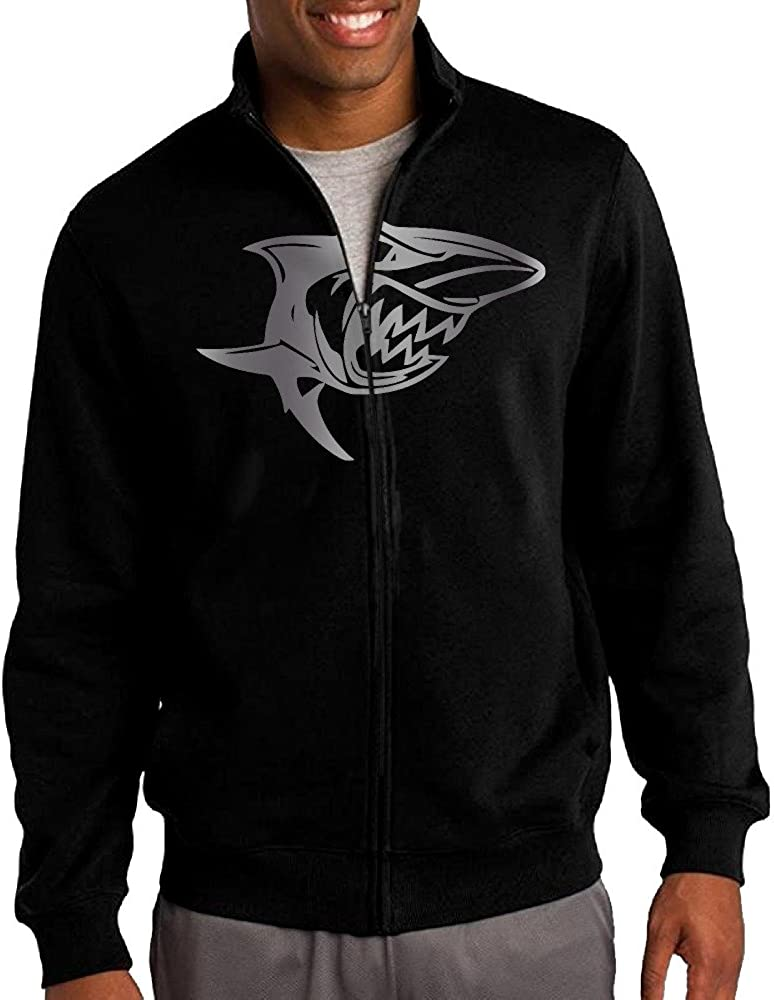 Men Great White Shark Vinyl Decal Sticker Platinum Logo Zip-up Jacket Hooded Sweatshirt Black