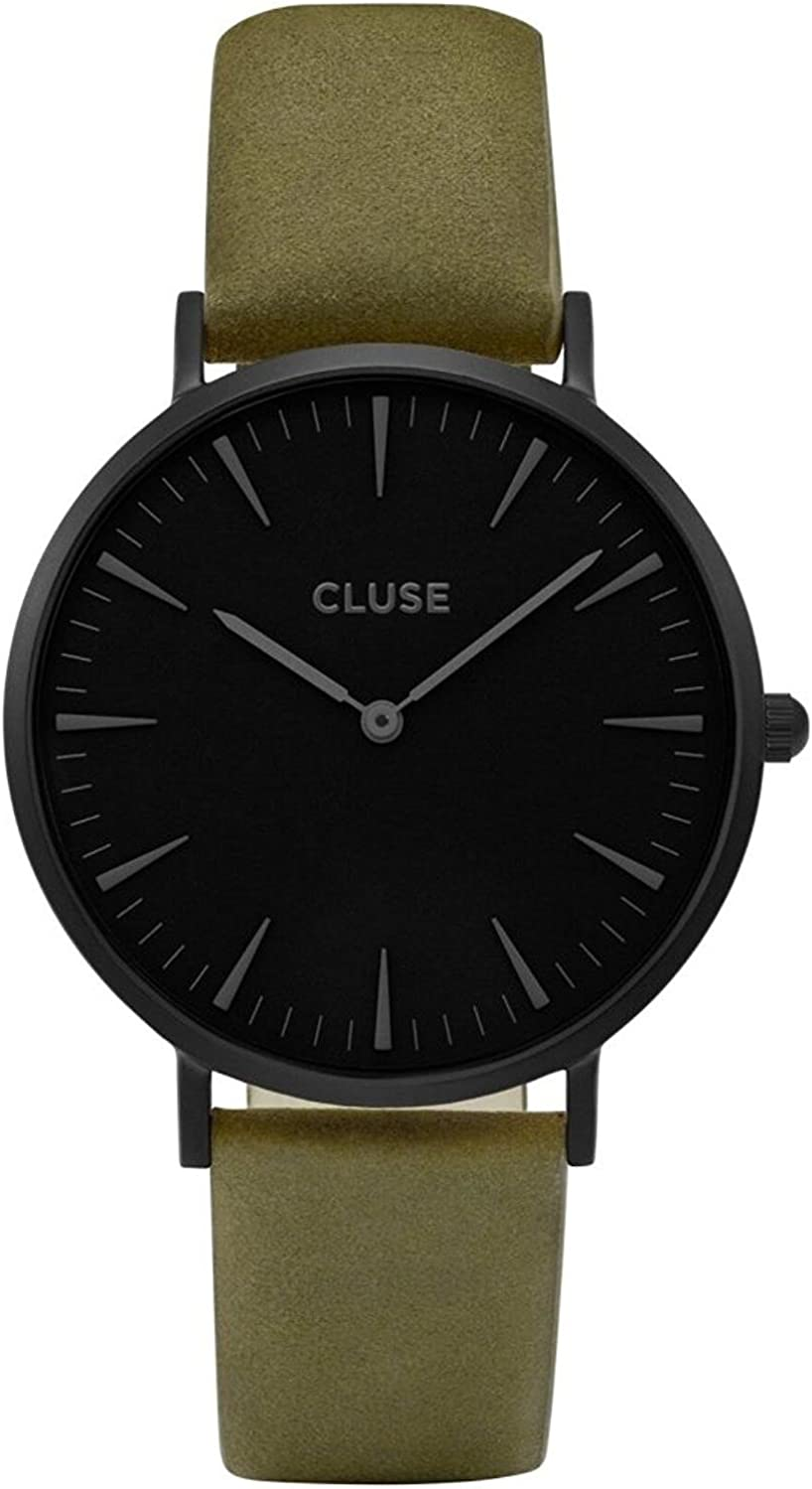Cluse Women s La Boheme 38mm Green Leather Band Metal Case Quartz Black Dial Analog Watch CL18502