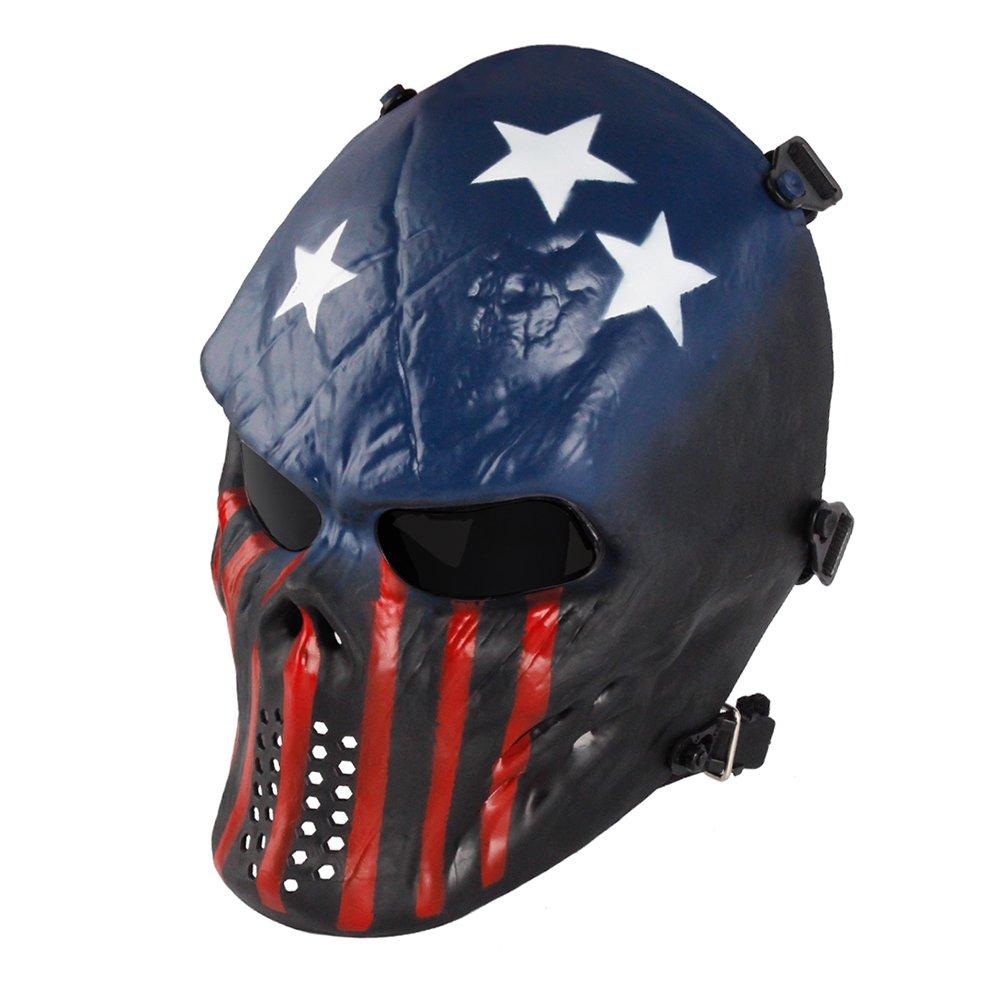 NINAT Airsoft Skull Masks Full Face - Tactical Mask Eye Protection for CS Survival Games BBS Shooting Masquerade Halloween Cosplay Movie Props Zombie Scary Skeleton Masks Captain Greylens by NINAT