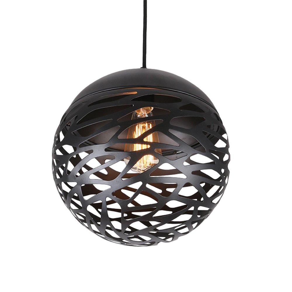 Metal Industrial Chandelier, MKLOT Ecopower Retro Vintage Pendant Light Ceiling Lighting 11.81'' Wide Iron Fixture Hollow Ball Lamp Chandelier 1-Light