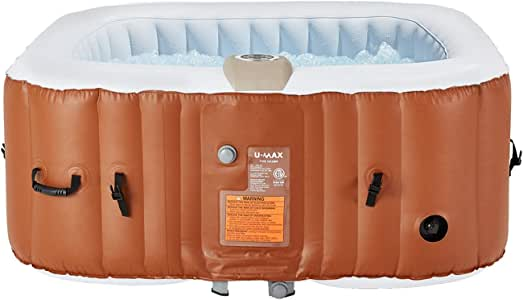 """U-MAX Inflatable Hot Tub, 2-4 Person Portable SPA Blow Up Hot Tub with Built in Heater and Bubble Function(Square, 59"""" x 25.6"""")"""
