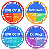 Frau Fowler Remineralizing Tooth Powder- (Power Mint/Mouth Medic/Citrus Mint/Licorice Mint), Variety 4 Pack (Tooth Whitening Naturally, Fluoride-Free) 2 oz each