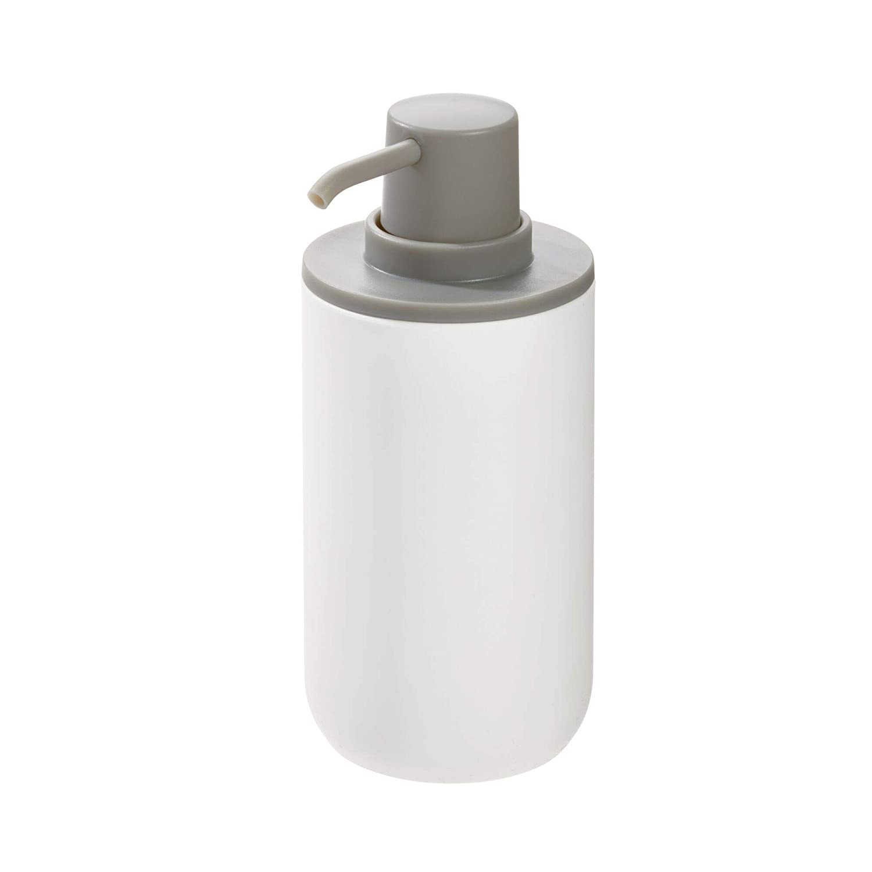 dosificador de jab/ón redondo en pl/ástico para ba/ño o cocina blanco y gris iDesign Dispensador de jab/ón bote dosificador recargable para jab/ón o loci/ón de 355 ml de capacidad