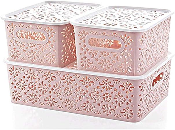 Boite De Rangement Avec Couvercle Petit Bac De Rangement Empilable En Plastique De Bureau En Trois Pieces Couleur Violet Amazon Fr Cuisine Maison
