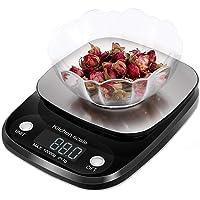 Báscula Digital de Alimentos, Báscula de Cocina Digital Multifunción, Pantalla LCD y Diseño de Plataforma de Pesaje de Acero Inoxidable Ultrafino, 22 lb / 10 kg, Negro - RabbitStorm