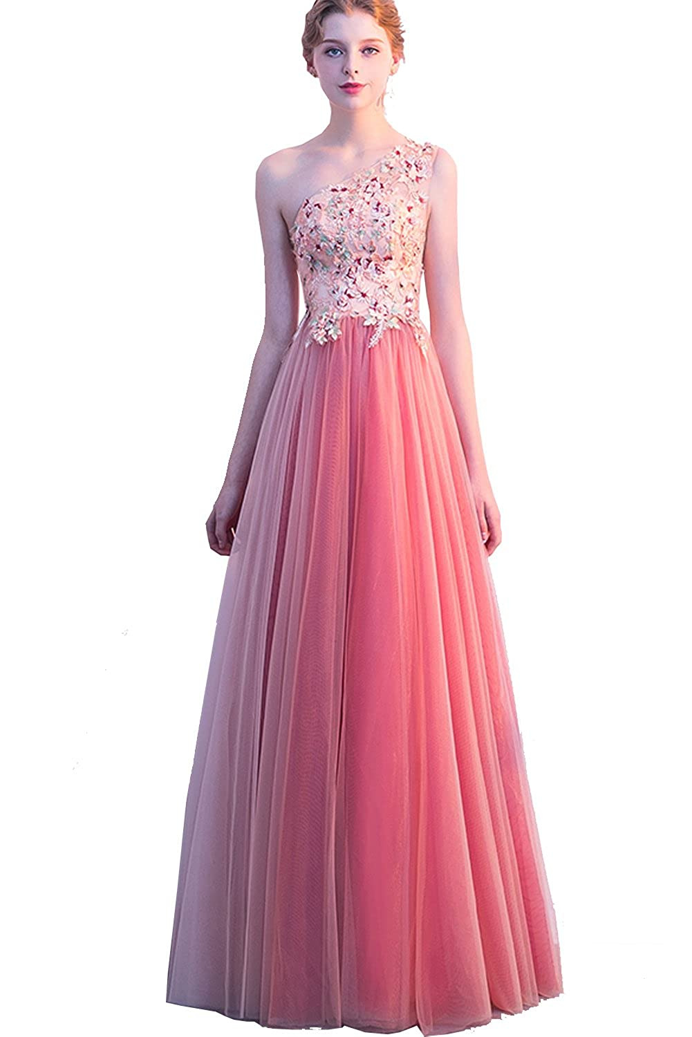7a7230dbcc15 Women's Floral Applique One Shoulder Long Prom Dresses Coral Formal Gowns  2019 at Amazon Women's Clothing store: