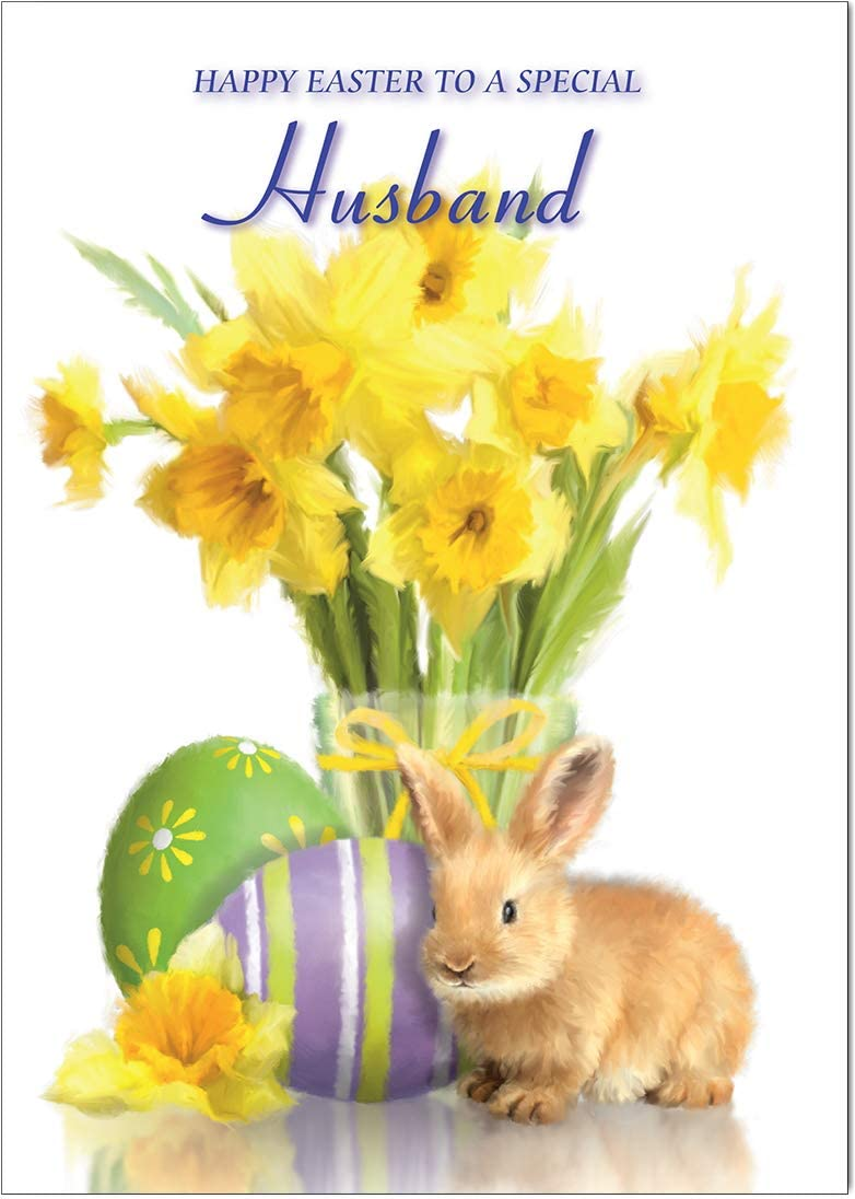 Husband Easter Card from Olivia Samuel Gloss Medium Sized Card with Peel and Seal Envelope A5 Size -148mm x 210mm
