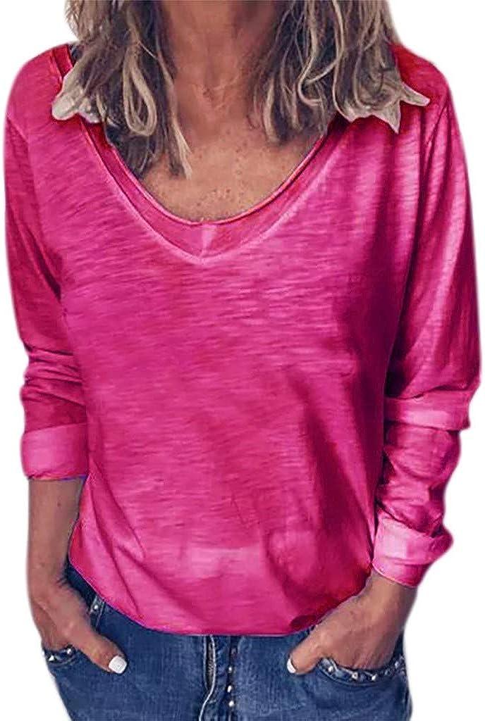 JiaMeng Primavera Otoño Blusa de Las Mujeres Camiseta de Manga Larga con Cuello en O y Manga Larga de Color sólido para Mujer Fiesta Suelta Tops: Amazon.es: Ropa y accesorios