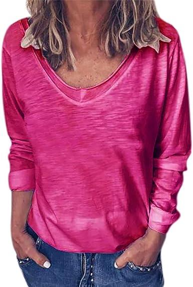 JiaMeng Primavera Otoño Blusa de Las Mujeres Camiseta de Manga Larga con Cuello en O y Manga Larga de Color sólido para Mujer Fiesta Suelta Tops