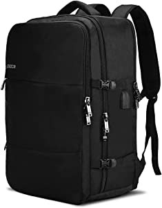 Large Travel Backpack with USB Charging and Headphone port. Airline Approved Anti theft Luggage Carrying Rucksack, Two Waterproof Compartments, Fits 17-inch laptop