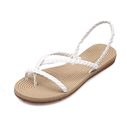 bc949071a588e Amazon.com   Pan Hui New Women Braided Strap Flat Sandals Leisure Bohemia  Thong Slippers Shoes Casual Vacation Beach Shoes (US 6.5🐾38
