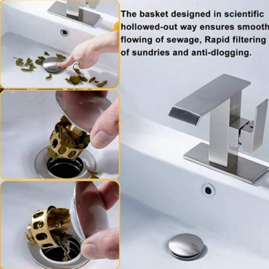 Universal wash basin bounce drain filter,Pop Up Bathroom Sink Drain Plug With Basket,Universal Size Sink Drain Stopper 1pcs