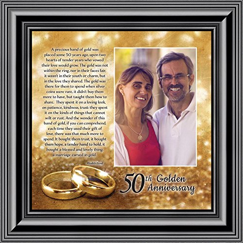 Bands of Gold, Personalized 50th Wedding Picture Frame, 10x10 6314B (Gold Porcelain Band)