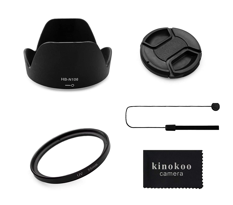 E kinokoo Kit daccessoires pour Objectif de Filtre UV de 55mm et de 58mm pour Nikon D5600//D5300//D3400//D3500 Kit dabat-Jour//Ensemble de filtres dobjectif
