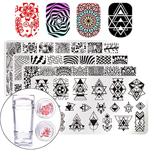 BORN PRETTY Nail Art Stamp Stamping Templates Stamper Scraper Kit- 4 Manicure Plates Set with 1 Polish Stamper by Salon (4 Stamp Plate)