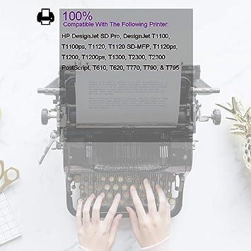 Ouguan - Cabezales de impresión para HP Designjet T610 T620 T770 T790 T795 T1100 T1120 T1200 T1300 T2300- Negro Mate y Amarillo (C9383A): Amazon.es: Oficina y papelería