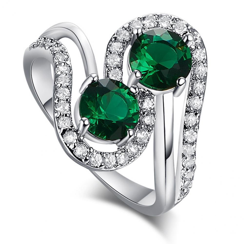 LeoBon New Wedding Cocktail Party Rings for Women Emerald White CZ Diamond 18K White Gold Plated Ring