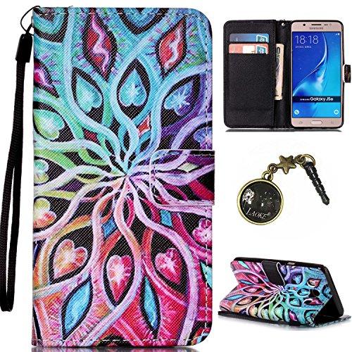 Para Smartphone Samsung Galaxy J5(2016) J510móvil, Funda de piel para Samsung Galaxy J5(2016) J510Flip Cover Funda Libro Con Tarjetero Función Atril magnético + Polvo Conector negro 3 5
