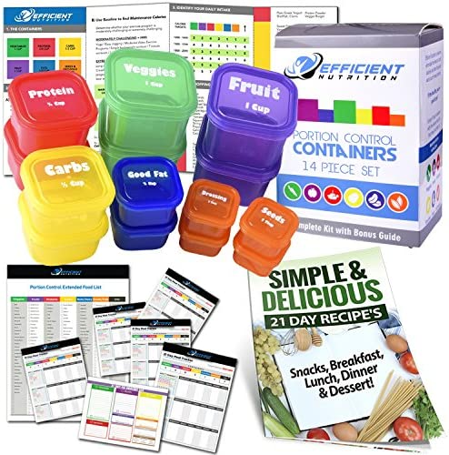 21 Day LABELED Efficient Nutrition Portion Control Containers Kit (14-Piece) + COMPLETE GUIDE + 21 DAY PLANNER eBOOK + RECIPE eBOOK, BPA FREE Color Coded Meal Prep System for Diet and Weight Loss 1