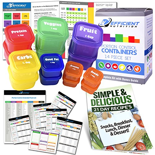 (21 Day LABELED Efficient Nutrition Portion Control Containers Kit (14-Piece) + COMPLETE GUIDE + 21 DAY PLANNER eBOOK + RECIPE eBOOK, BPA FREE Color Coded Meal Prep System for Diet and Weight Loss )