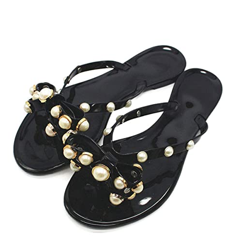 e4f7c2dd3b6986 Just Shoe Summer Beach Jelly Flat Thong Sandal Bow Slip-On Jelly Flip Flops  Shoes