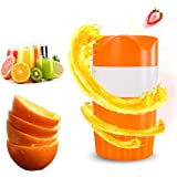 Hand Juicer 6-Blade Citrus Orange Squeezer Manual Lid Rotation Press Reamer Maker for Lime Lemon Grapefruit Portable Outdoor Easy to Clean Container/Strainer