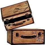 Carrick Design Time Traveller Suitcases, Multi-Colour, 43 x 19 x 33 cm, Set of 2