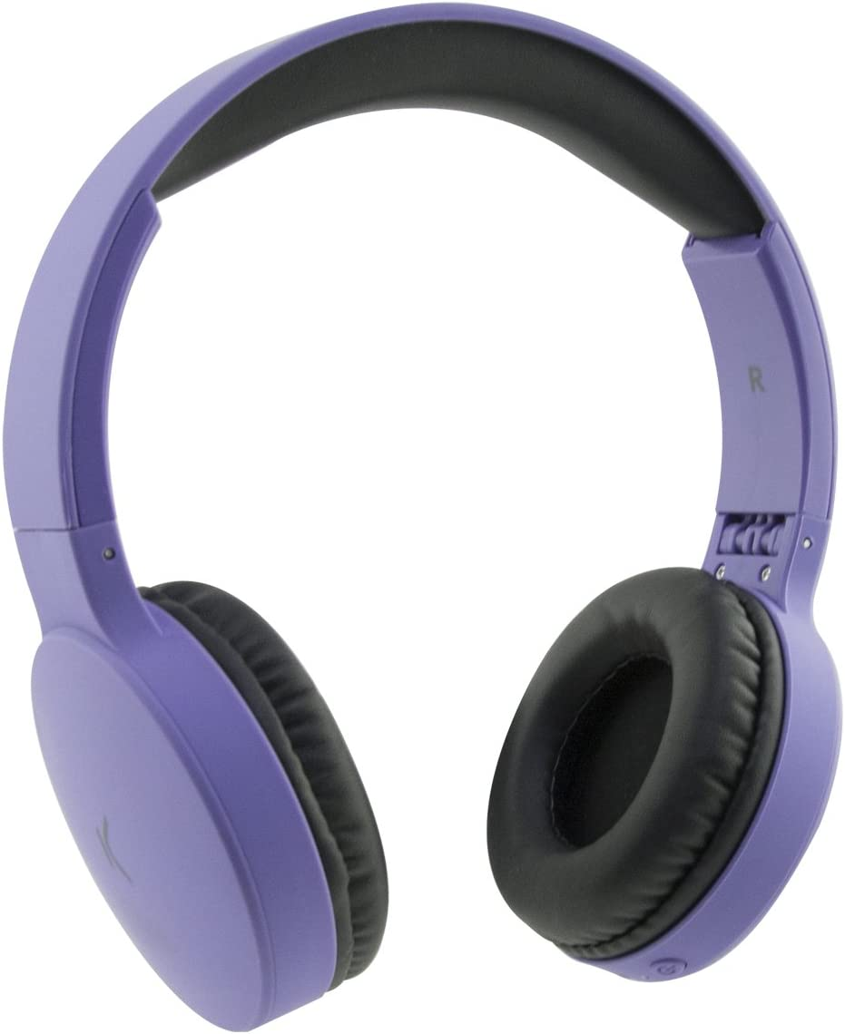 Ksix Go&Play Travel - Auriculares inalámbricos (Plegables, Bluetooth 3.0, micrófono Integrado, Rango de 10 m), Morado