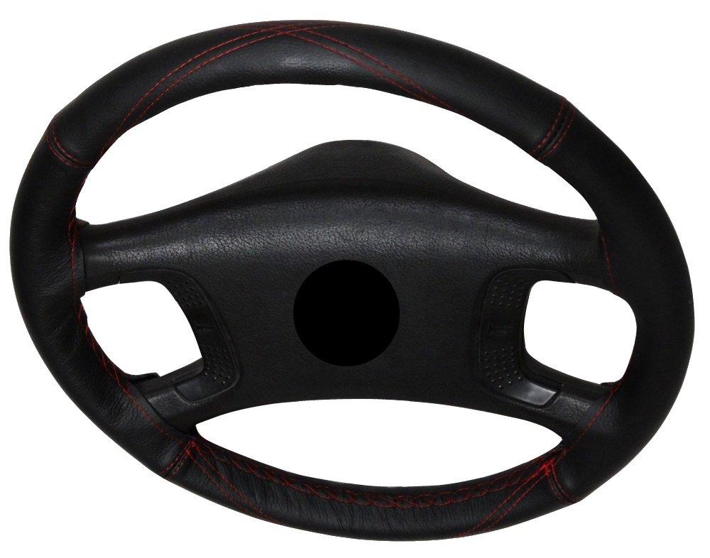 Tamano M AERZETIX: Cubre Volante en Cuero Piel Genuina Cuero: Color Negro con Aguja e Hilo Hilo: Color Rojo. para diametro 37-40 cm