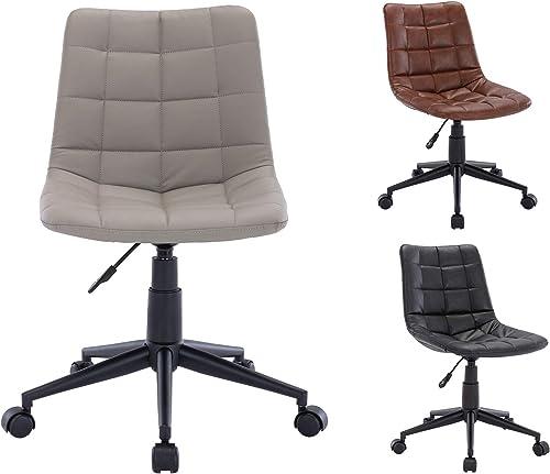 Guyou PU Leather Office Chair Adjustable Swivel Task Chair Armless Chair