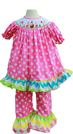 Amazon.com  Boutique Clothing Baby Girls Easter Bunny Smocked Ruffle ... 621855ed2a