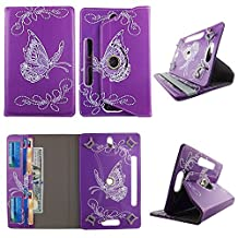 """Butterfly Purple tablet case 10 inch for Digiland 10.1 10"""" 10 inch android tablet cases 360 rotating slim folio stand protector pu leather cover travel e-reader cash slots"""