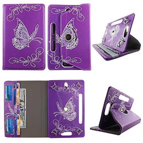 White Butterfly Purple tablet case 7 inch Ellipsis 4g LTE android tablet cases 360 rotating slim folio stand protector pu leather cover travel e-reader cash slots (Ellipsis Butterfly Case 7)
