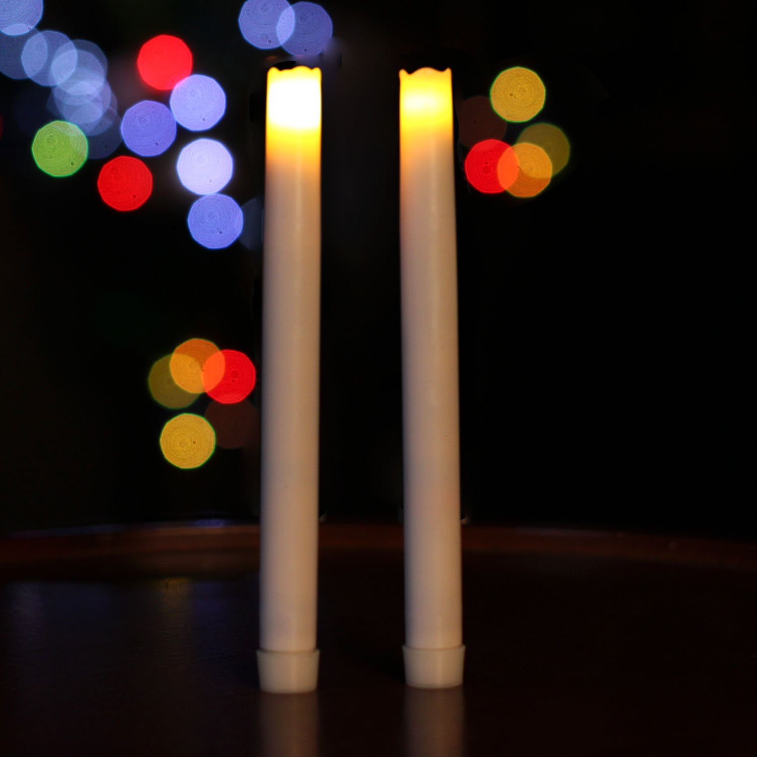 9'' Electric Led Taper Candles with Timer, Battery Operated Real Wax Candle for Home and Parties, White, Pack of 2