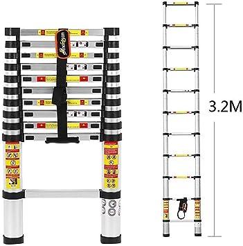 Escalera telescópica de aluminio de 3.2 m escalera plegable con ajustes de seguridad para los dedos y cumple con las normas EN131, SGS y CE: Amazon.es: Bricolaje y herramientas