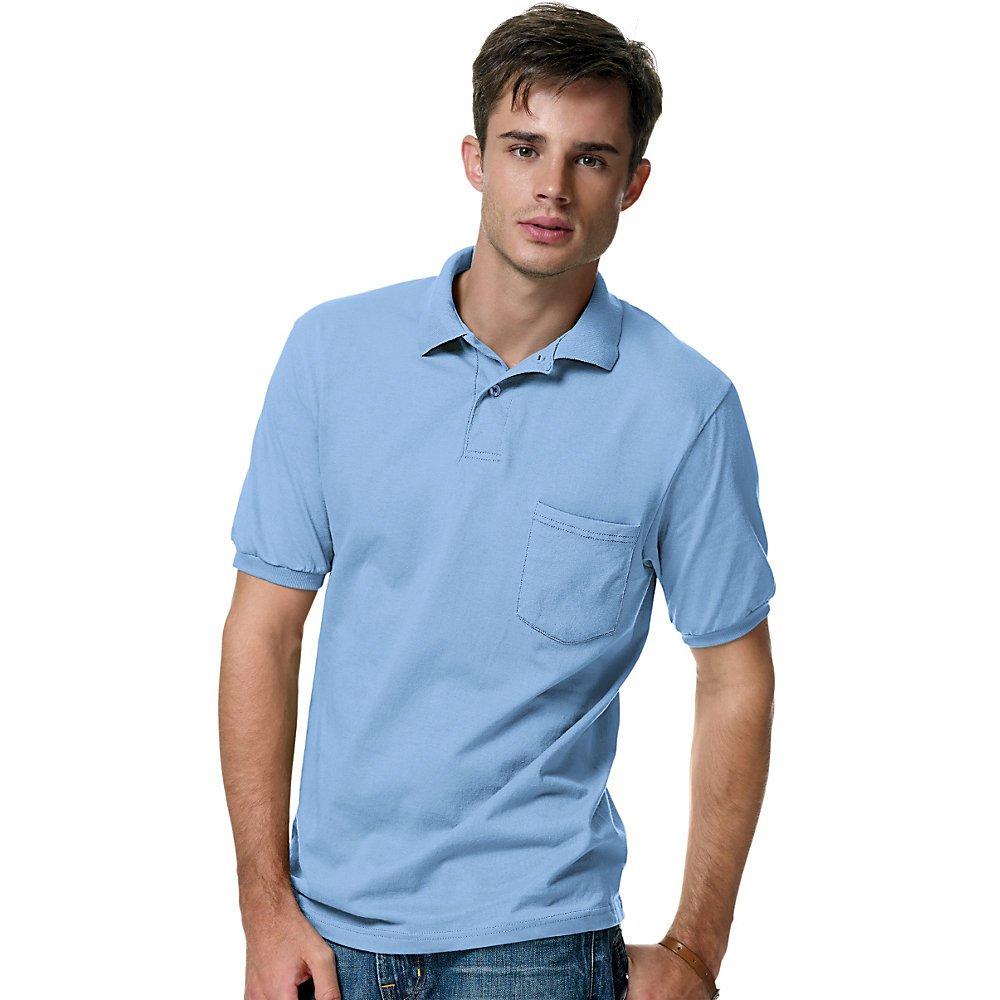 Hanes Polo Cotton-Blend Jersey para hombre con bolsillo, azul ...