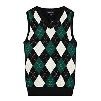 Colyanda Girls School Uniforms Cotton V Neck Argyle Knit Sweater