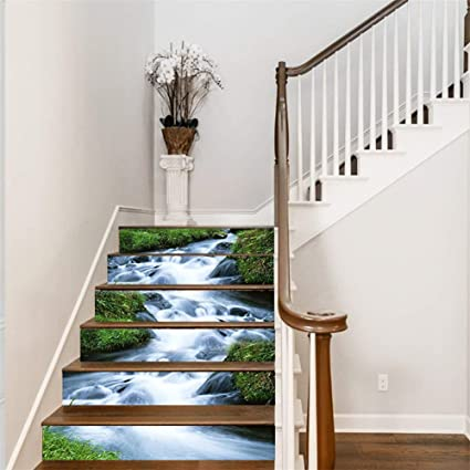 FLFK 6PCS 3D Green Grass Streams Stair Risers Decal- Peel and Stick  Staircase Stickers- Removable Wallpaper Murals for Home Decor