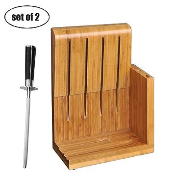 Bloque De Cuchillos De Bambú De 6 Ranuras Sin Cuchillos ...