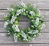 ES ESSENTIALS 20'' Lavender Shell Wreath (cream)