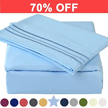 Microfiber Queen Size Bed Sheet Set   Extra Deep Pocket   Stain Resistant,  Warm,