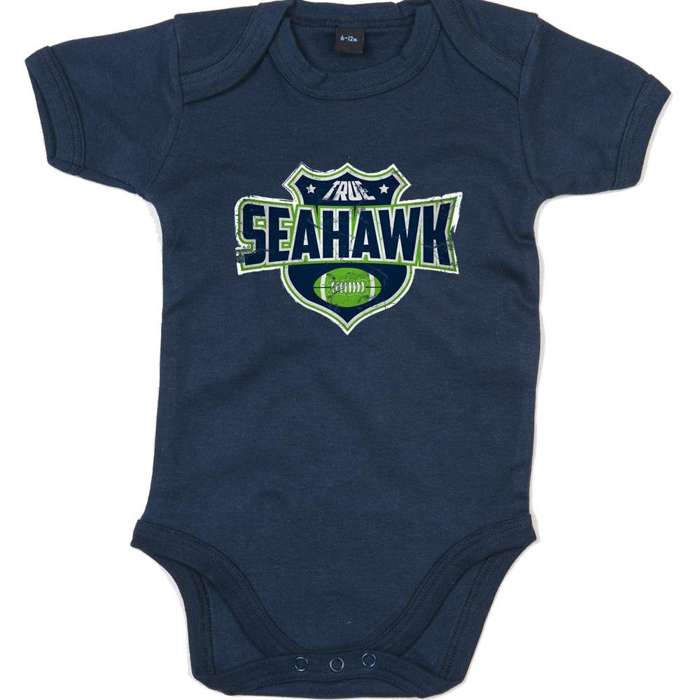 Shirt Happenz True Seahawk Premium Babybody American Football Super Bowl NFL Mädchen und Jungen Kurzarmbody