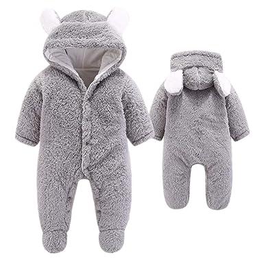 6ba4ea8c7c60 Amazon.com  GAMISS Baby Snowsuit Newborn Bear Onesie Infant Winter ...