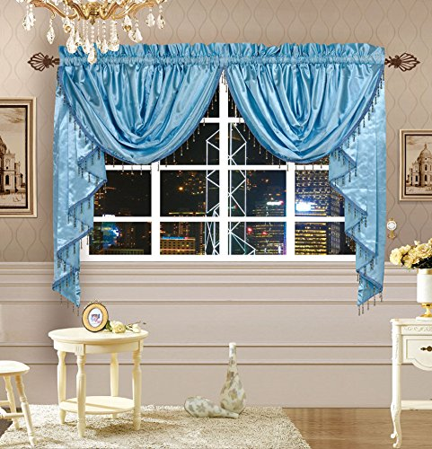 Octorose Royalty Custom Waterfall Window Valance and Swags & Tails (Blue, pair of swags & tails(132x47
