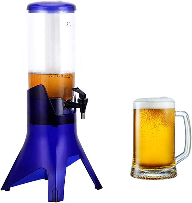 SIRUL Dispensador de Cerveza de 3 l, dispensador de Vino de Jugo de Bebida Transparente, con Tubo de Hielo extraíble para Bar, Fiesta, Restaurante, KTV, Restaurante de Barbacoa