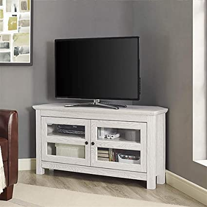 Amazoncom We Furniture 44 White Wash Wood Tv Stand Kitchen Dining